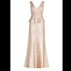 Herve Leger Izabela Woodgrain Foil Print Gown Pink